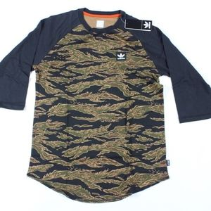 New Adidas Camouflage Spell Out Raglan Shirt Mens